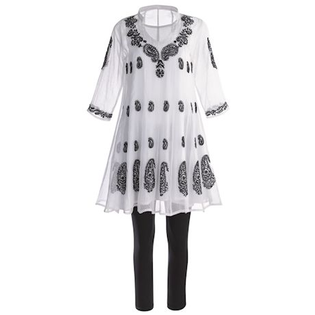 Organza Tunic With Paisley Embroidery