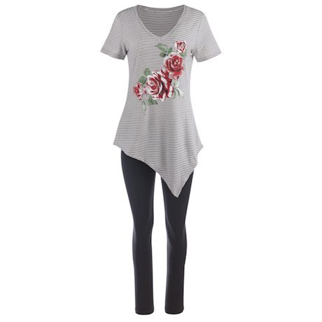 Kendall V-Neck Top With Rose Applique