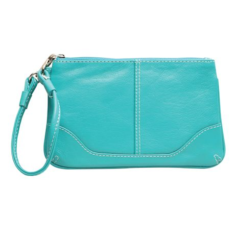 Top-Stitched Leather Wristlet