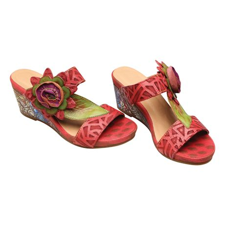 Leather Corsage Wedge Sandal