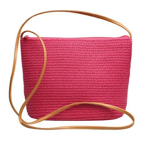 Woven Paper-Straw Crossbody Bag