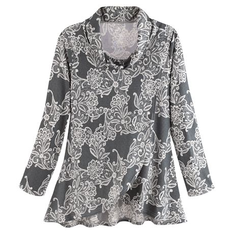 Filigree-Print Cowlneck Top