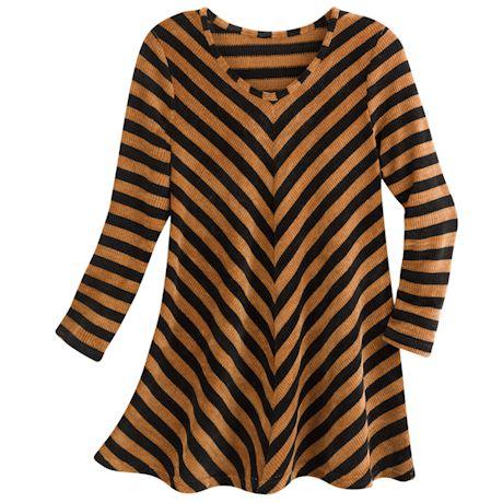 Vee Stripe Chenille Sweater-Knit Tunic