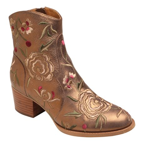 Foral Embroidered Westmont Leather Ankle Boot