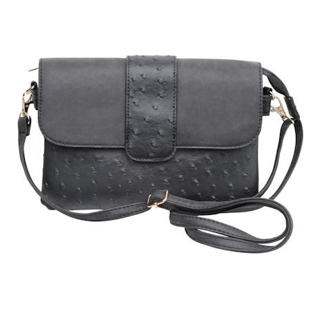 Vegan Ostrich Crossbody Bag
