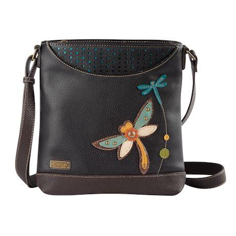 Appliquéd Dragonfly Convertible Messenger Bag
