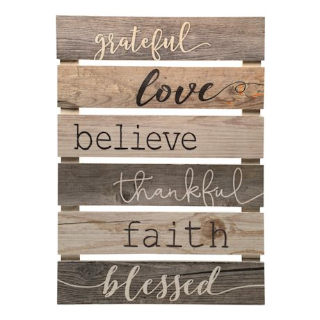 Grateful Thankful Blessed Wall Plaque