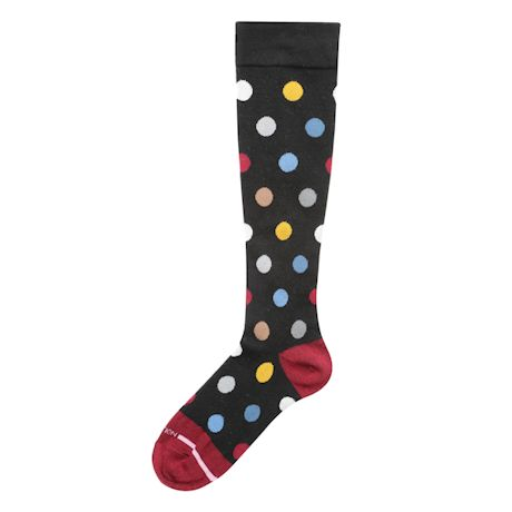Polka-Dot Graduated Compression Woven Knee-Highs