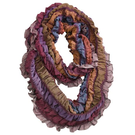 Ruched Ruffle Infinity Scarf