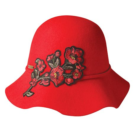 Embroidered Flowers Downtowner Hat