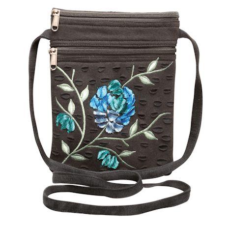 Appliquéd Velvet Flower Cross Body Bag