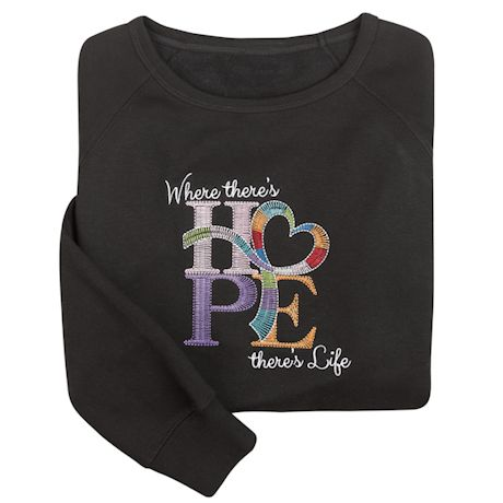Breast Cancer Support Embroidered Ladies' Hope Sweatshirt
