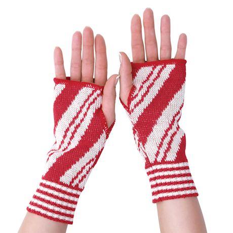 Candy Cane Stripes Fingerless Gloves