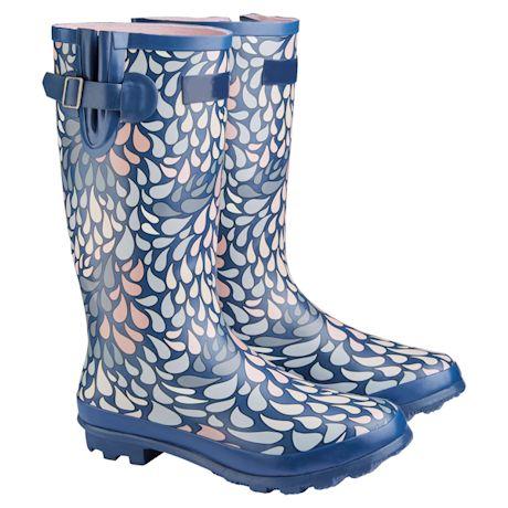 UK Designed Wellies - Rain Drops