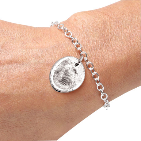 Sterling Silver Personalized Fingerprint Bracelet