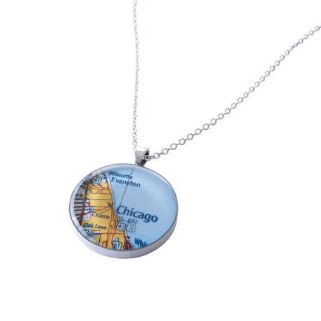 "Custom Map 1"" Pendant Necklace"