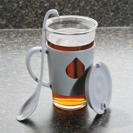 Swan Mug and Spoon - Glass Cup and Silicone Handle - Grey - 16 Ounce