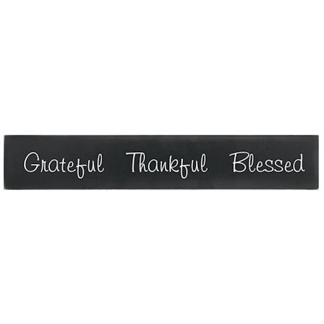 """""""Grateful Thankful Blessed"""" Wood Plaque"""