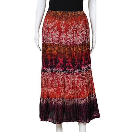 Women's Peasant Skirt - Tiered Broomstick Maxi in Rusty Reds