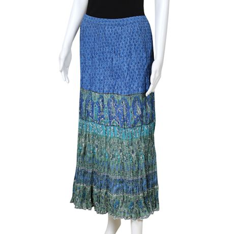 Women's Peasant Skirt -Broomstick Maxi in Blues and Green