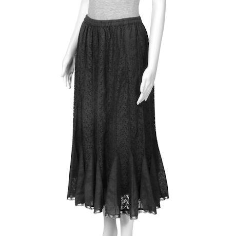 Women's Black Lace Gored Skirt - Fully Lined
