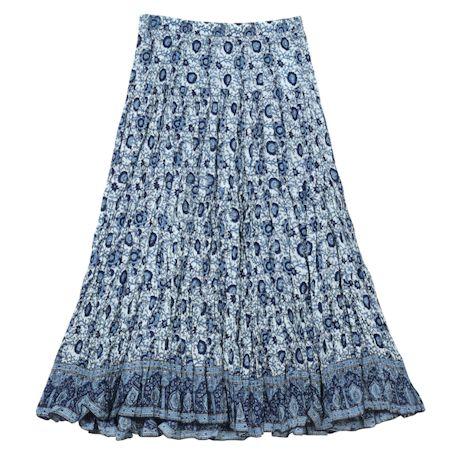 Women's Batik Peasant Skirt - Printed Broomstick Maxi in Blues