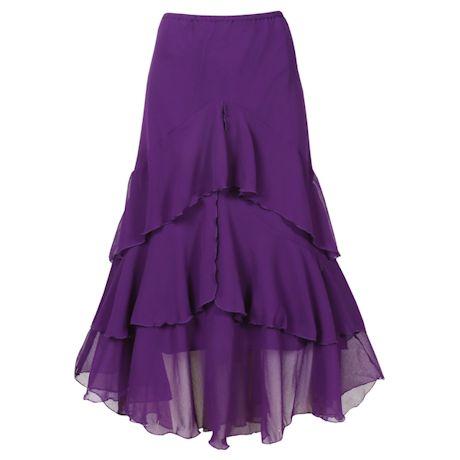 Women's Ruffled Purple Skirt - Asymmetrical Tiered Broom Style