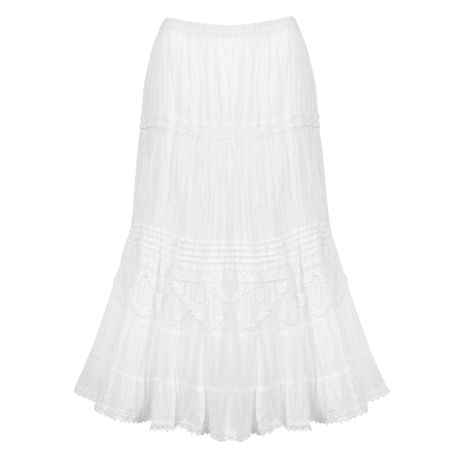 Women's Tiered Peasant Skirt - White Broomstick Maxi