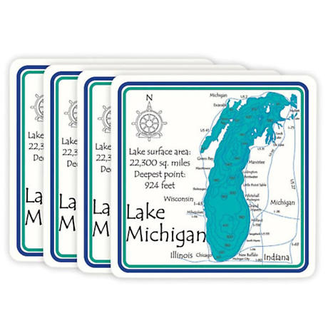 Personalized Lake Set of Four Coasters
