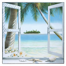 "Personalized Beach Window Print - 23"" x 23"""