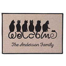 Personalized Cat Tails Welcome Mat