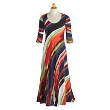 Canyon Sunset ¾-Sleeve Maxi Dress - 3/4 Sleeve