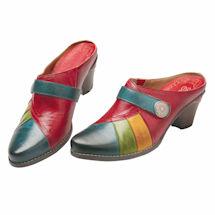 Color Block Leather Slide Shoe