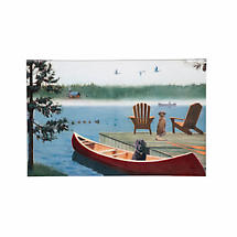 Dogs At The Lake Outdoor Stretched Canvas