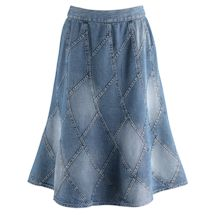 Denim Patchwork Mid-Calf Skirt