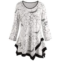 Tile Print Tunic Top - Black and White Print