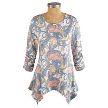 Ruched Sleeve Paisley Tunic