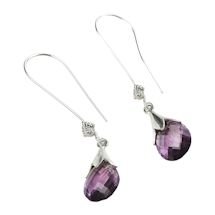 Amethyst Grandmother's Flower Earrings