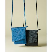 Embossed Floral Leather Crossbody Bag