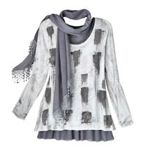 Women's Artsy Charcoal Gray & White Tunic & Scarf Set