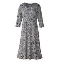 Simple Swirls A-Line Dress - 3/4 Sleeve
