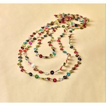 Multi-Color Shell Button Necklace