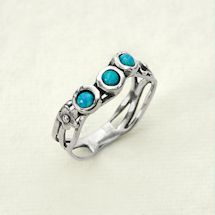 Triple Opals Sterling Ring