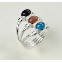 Three Sisters Gemstone 'N Sterling Ring