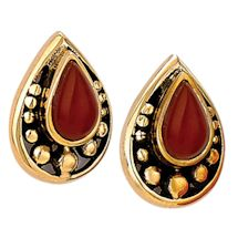 Carnelian 'N Bronze Post Earrings