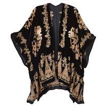 Black/Gold Burnout Velvet Kimono
