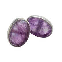 Rough-Cut Amethyst & Sterling Post Earrings