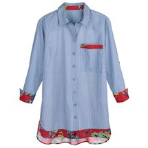 Menswear Stripe Shirt With Floral Sheer Back