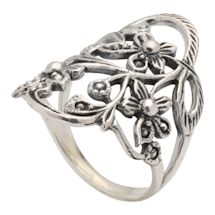 Vining Flowers Sterling Ring