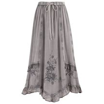 Appliqué And Lace Trim Enzyme Washed Skirt